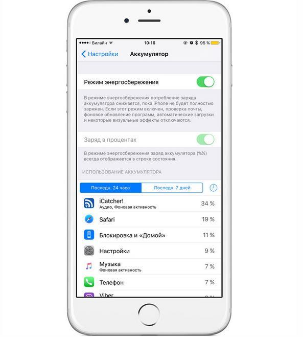 Режим экономии энергии iOS 9 -2